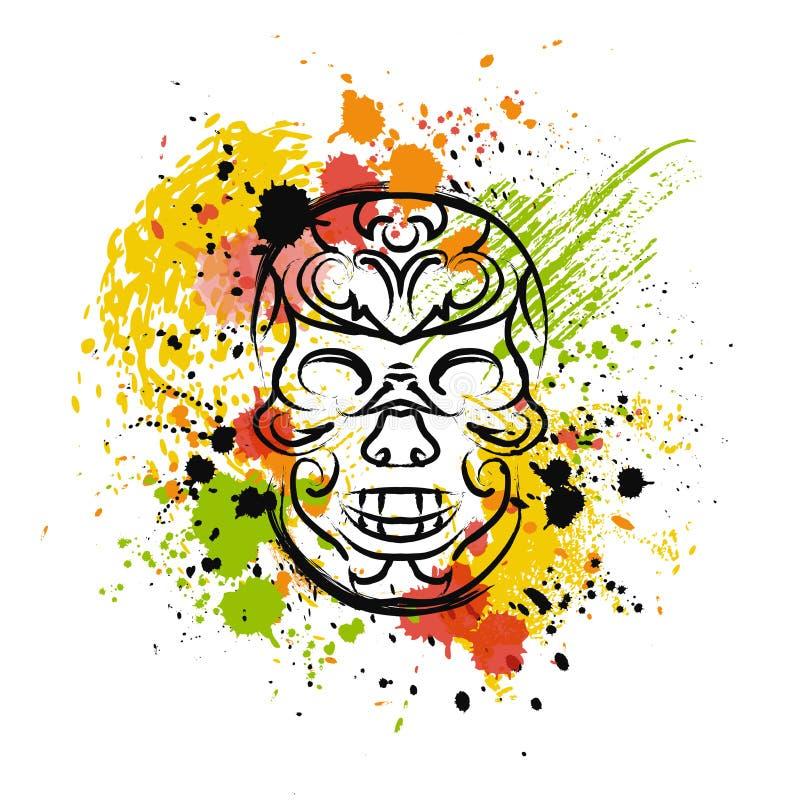 Schedel met plonsen in waterverfstijl Mexicaanse kleuren in traditionele stijl stock illustratie