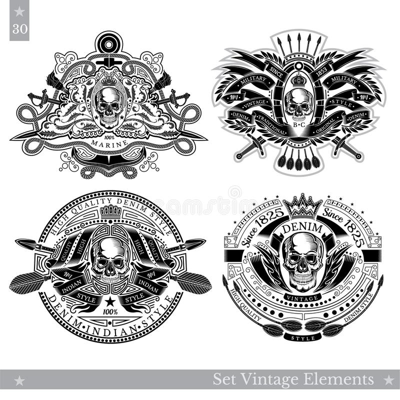 Schedel met uitstekende elementen, wapen, patroon Reeks uitstekende en zeevaartbanners op wit royalty-vrije illustratie