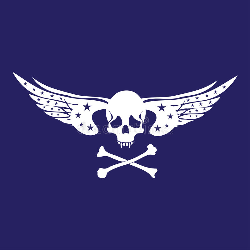 Schedel met vleugels stock illustratie