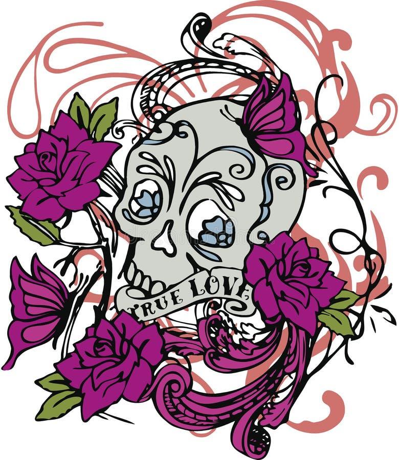 Schedel Rose Vector Illustration Design Art vector illustratie
