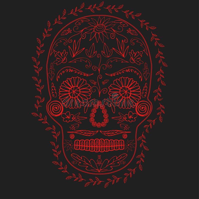 Schedel van bloemenrood op een zwart beeld van het achtergrondontwerpelement vector illustratie