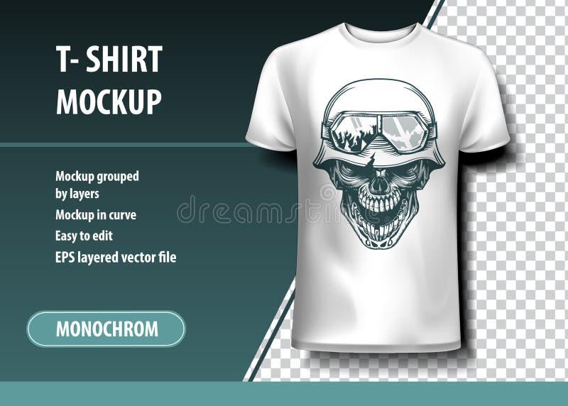 Schedel van de Duitse Militair Volledig editable t-shirtmalplaatje, royalty-vrije illustratie