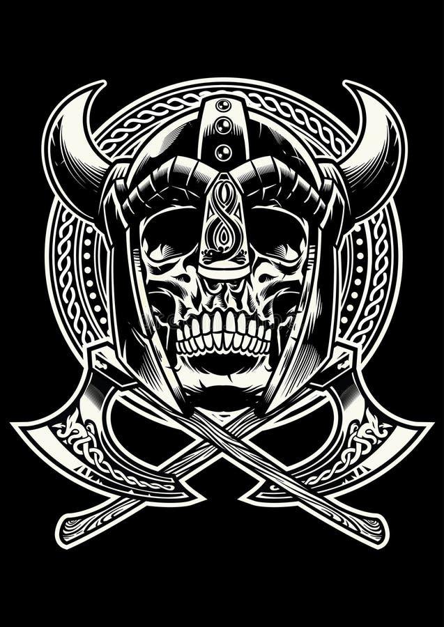 Schedel van de strijder van Viking met gekruiste assen royalty-vrije illustratie