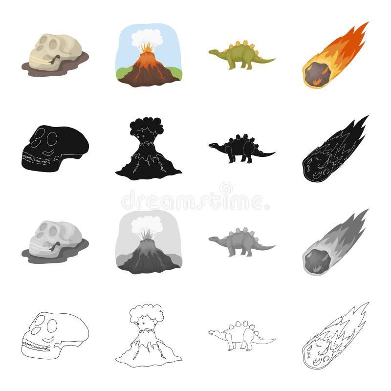 Schedel van de voorhistorische mens, vulkanische uitbarsting, dinosaurusstegosaurus, dalende meteoriet Dinosaurussen en voorhisto vector illustratie