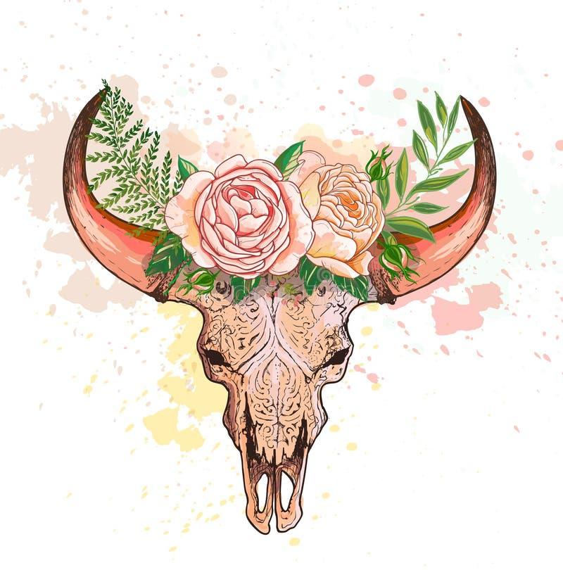 Schedel van een koe met hoornen, met bloemen wordt verfraaid die royalty-vrije illustratie