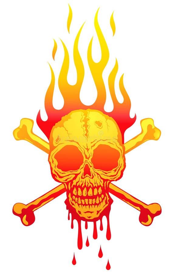 Schedel in vlammen royalty-vrije illustratie
