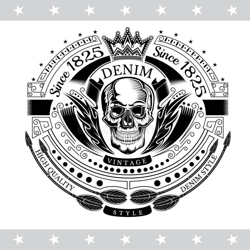 Schedel vooraanzicht in centrum van van de lijnpatroon en kromming pijlen Uitstekend geïsoleerd etiket royalty-vrije illustratie
