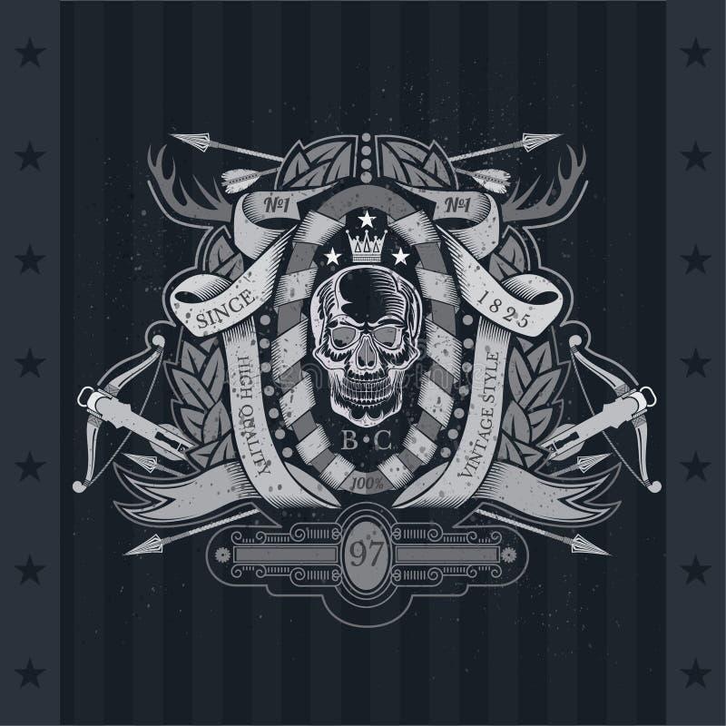 Schedel vooraanzicht in centrum van het winden van lint en kroon met dwarspijlen, hoornen, kruisboog Heraldisch uitstekend etiket stock illustratie