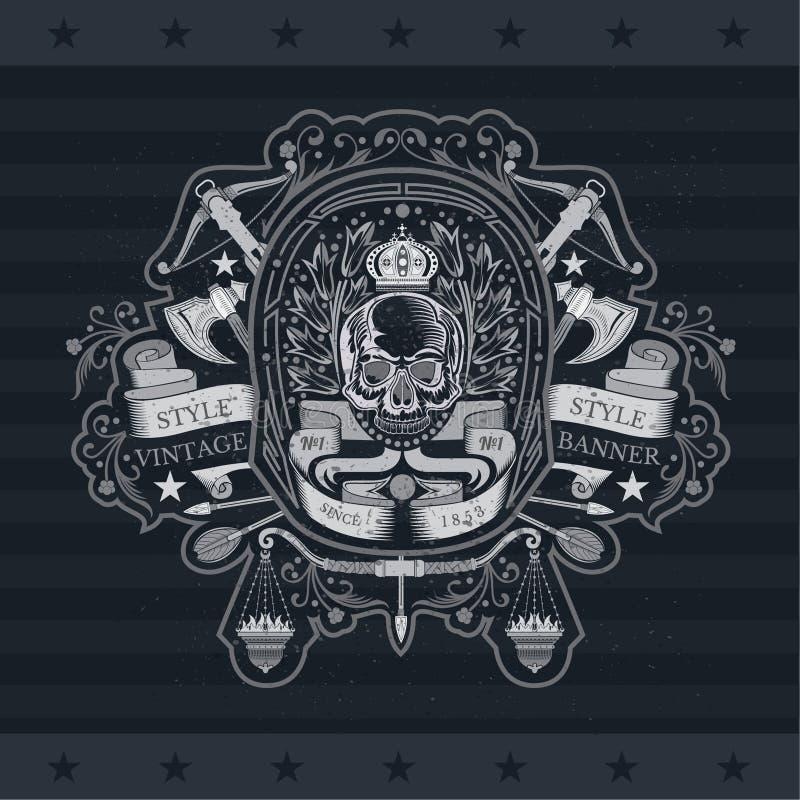 Schedel vooraanzicht in centrum van het winden van lint en kroon met dwarspijlen, hoornen, kruisboog Heraldisch uitstekend etiket royalty-vrije illustratie