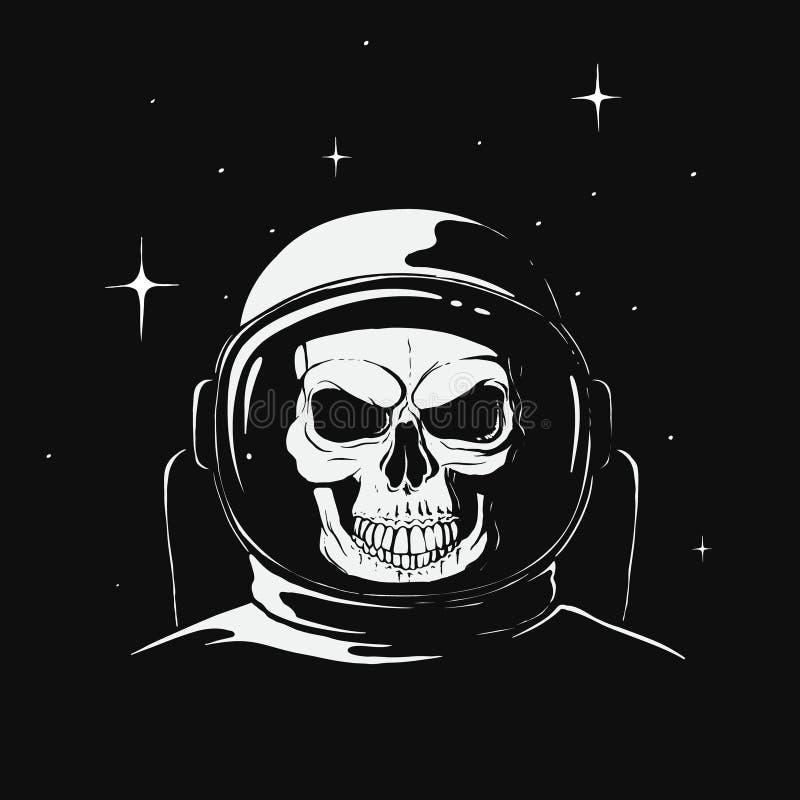 Schedelastronaut in ruimte royalty-vrije illustratie