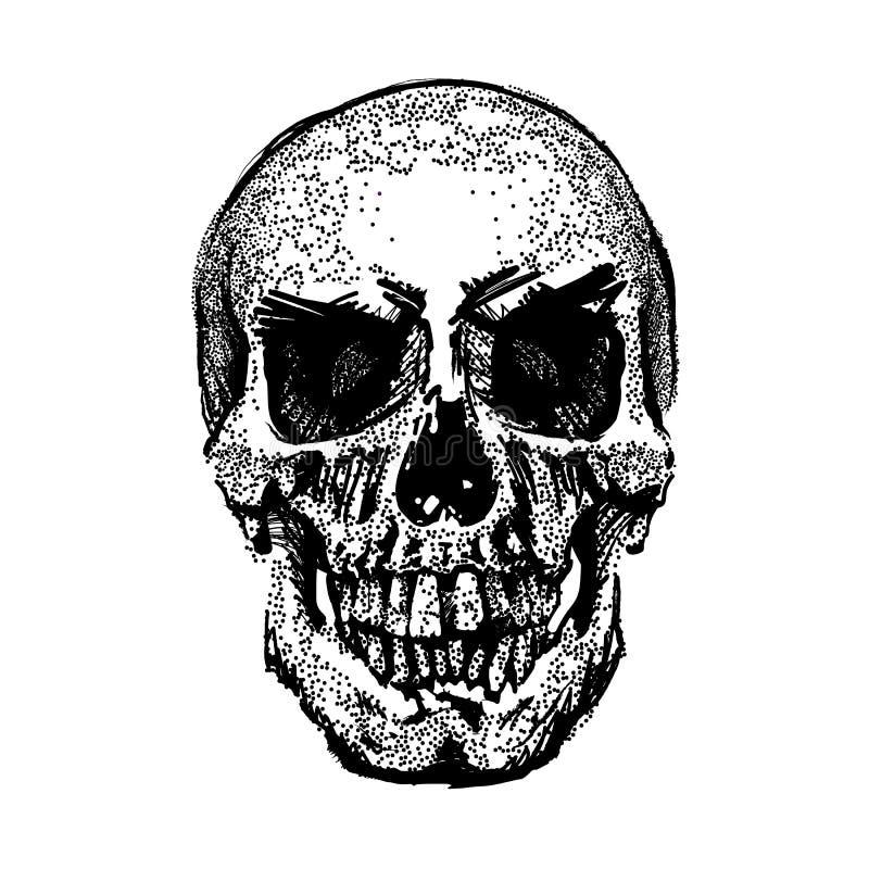 Schedelbeeld in grunge Vector art De kleding van kinderen Symbool van dood Zwart-wit stijl Geïsoleerdj op witte achtergrond royalty-vrije illustratie