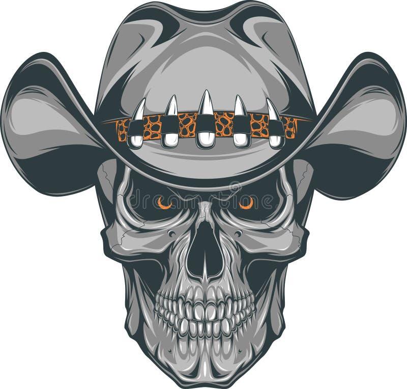 Schedelcowboy stock illustratie