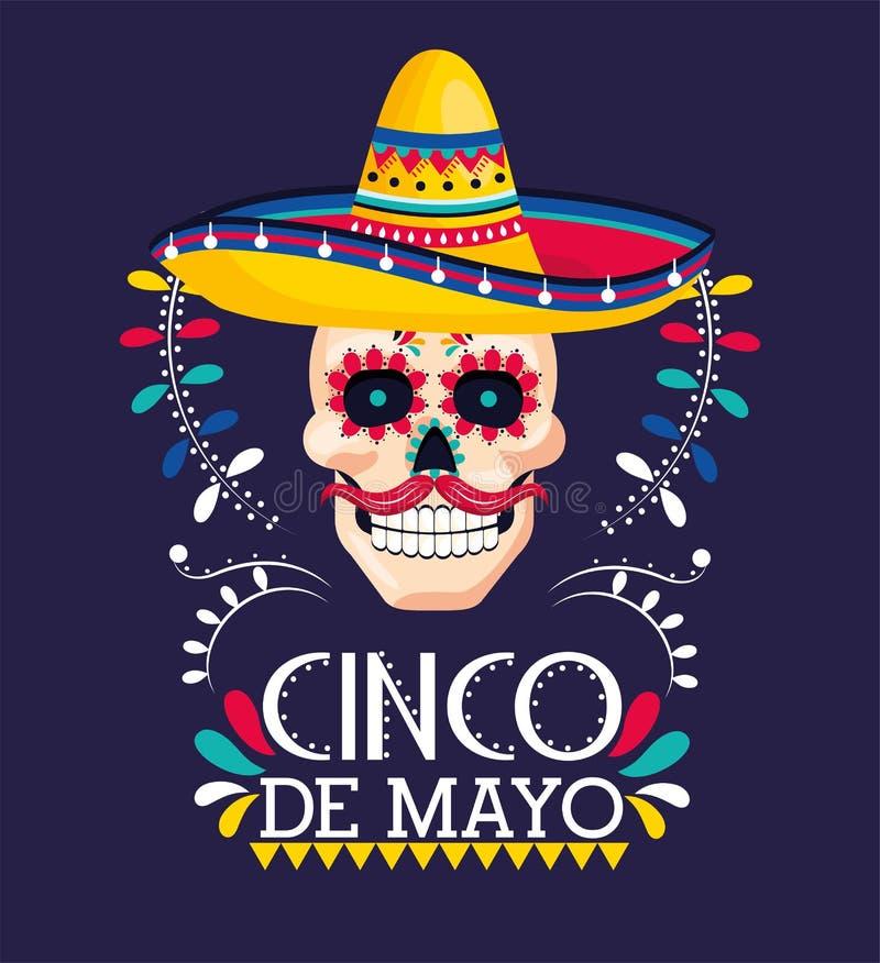Schedeldecoratie met hoed aan Mexicaanse gebeurtenis stock illustratie