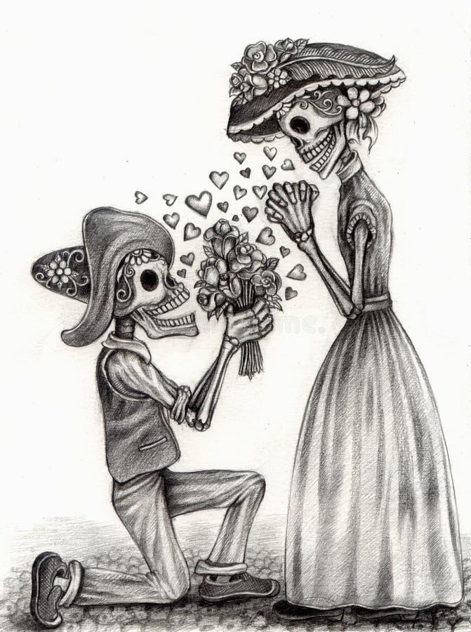 Schedelkunst in liefdedag van de doden Hand die op papier trekken vector illustratie