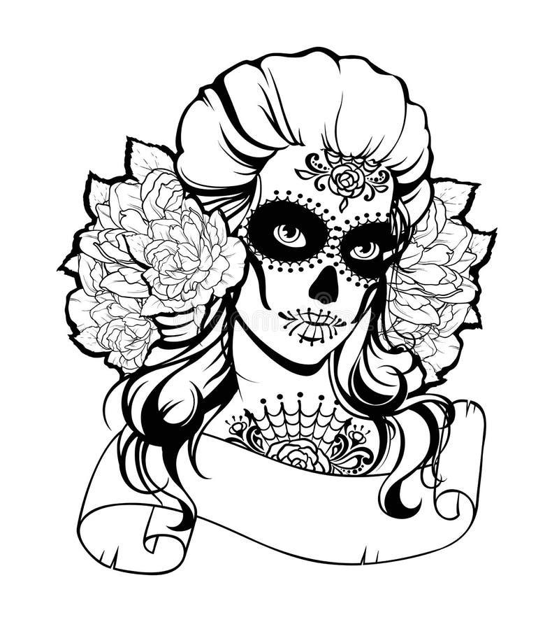Schedelmeisje in een bloemkroon royalty-vrije illustratie