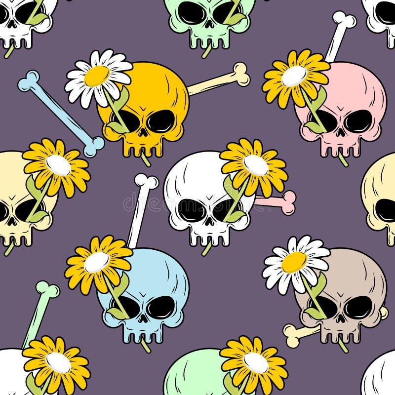 Schedels en bloemen naadloos patroon stock illustratie