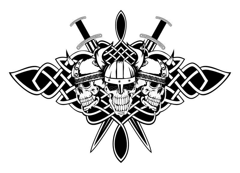 Schedels in helmen en Keltische patronen royalty-vrije illustratie