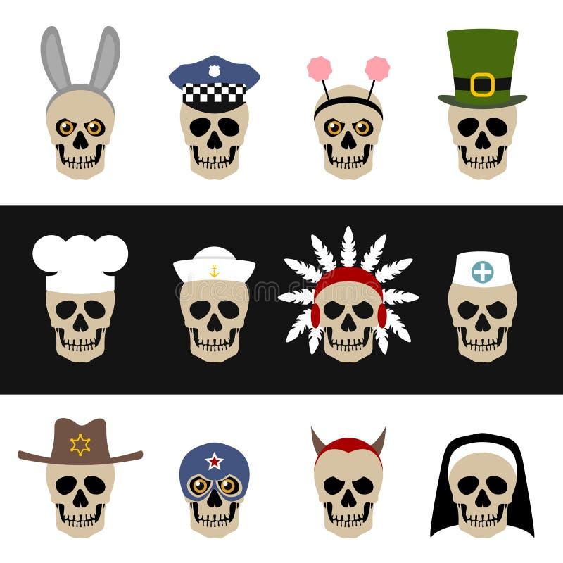 Schedels met hoeden en kappen royalty-vrije illustratie