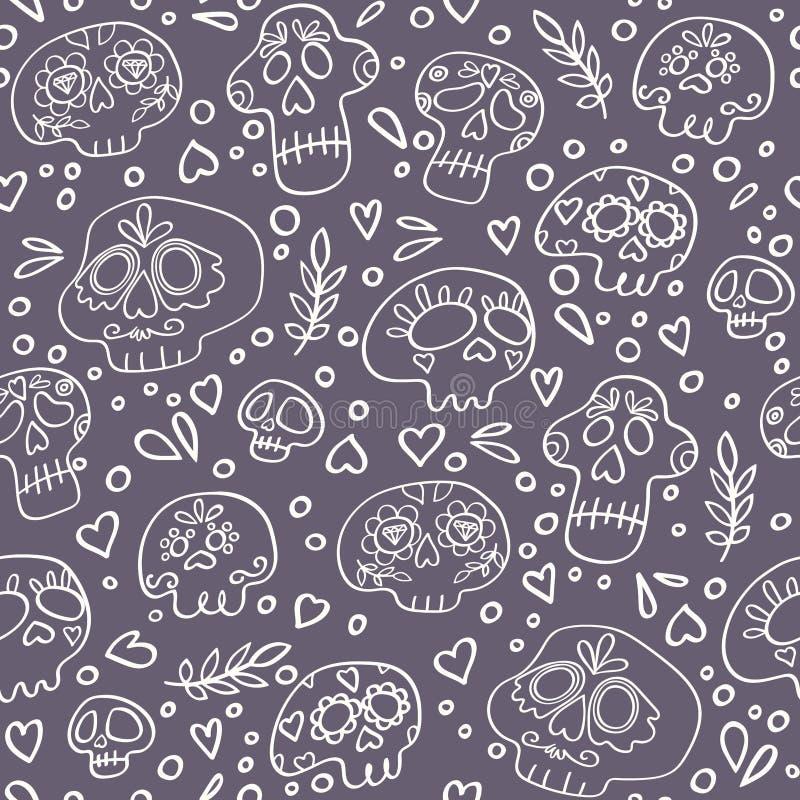 Schedels naadloos patroon voor textiel, het verpakken, stof, behang en andere oppervlakten Heilige Doodstextuur stock illustratie