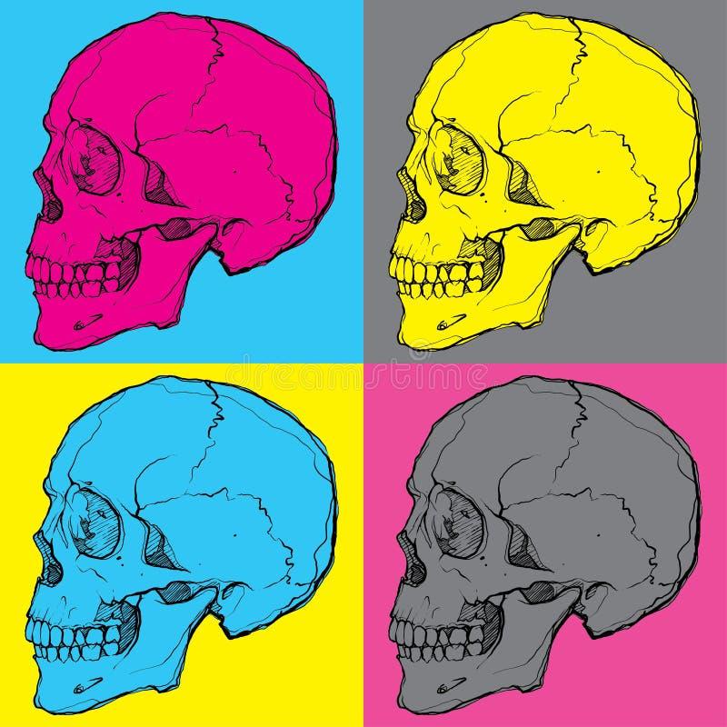 Schedels popart vector illustratie