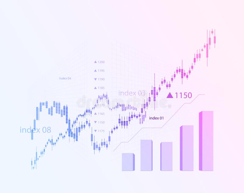 The schedule for changing the stock market graph in a positive direction. The investment economy and the development of stock illustration