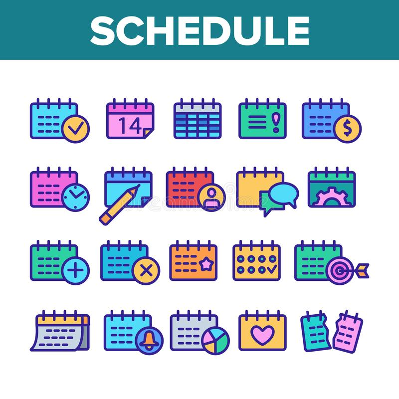 Schedule Collection Elements Icons Set Vector stock illustration