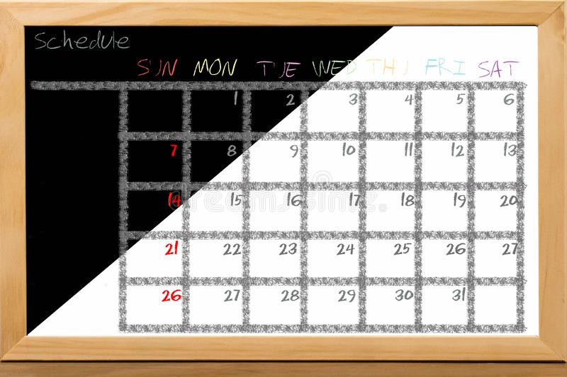 Schedule colorful for monthly note royalty free stock photography