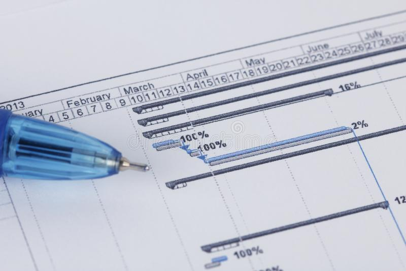 Schedule document with pen and gantt chart royalty free stock images