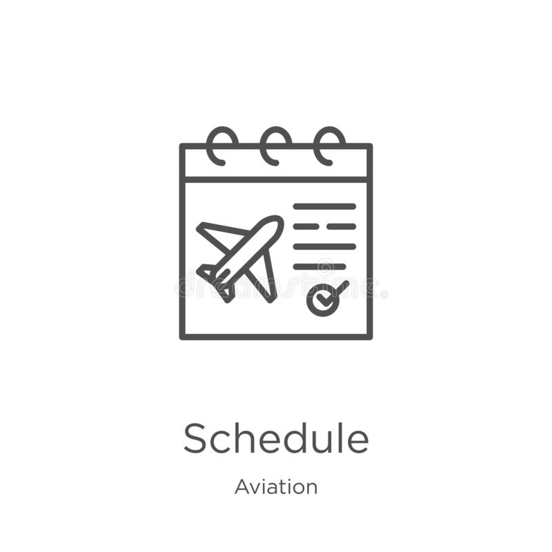 Schedule icon vector from aviation collection. Thin line schedule outline icon vector illustration. Outline, thin line schedule. Schedule icon. Element of vector illustration