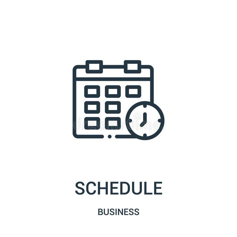 Schedule icon vector from business collection. Thin line schedule outline icon vector illustration. Linear symbol. For use on web and mobile apps, logo, print stock illustration