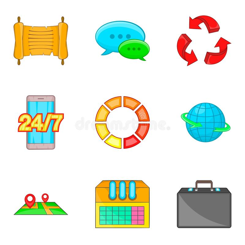 Schedule icons set, cartoon style. Schedule icons set. Cartoon set of 9 schedule vector icons for web isolated on white background vector illustration