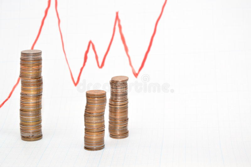 Schedule of profit growth. Coins on chart background stock images