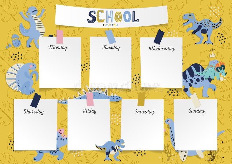 Schedule for the student in the form of board training and stickers with space for notes. School timetable, weekly schedule vector stock illustration