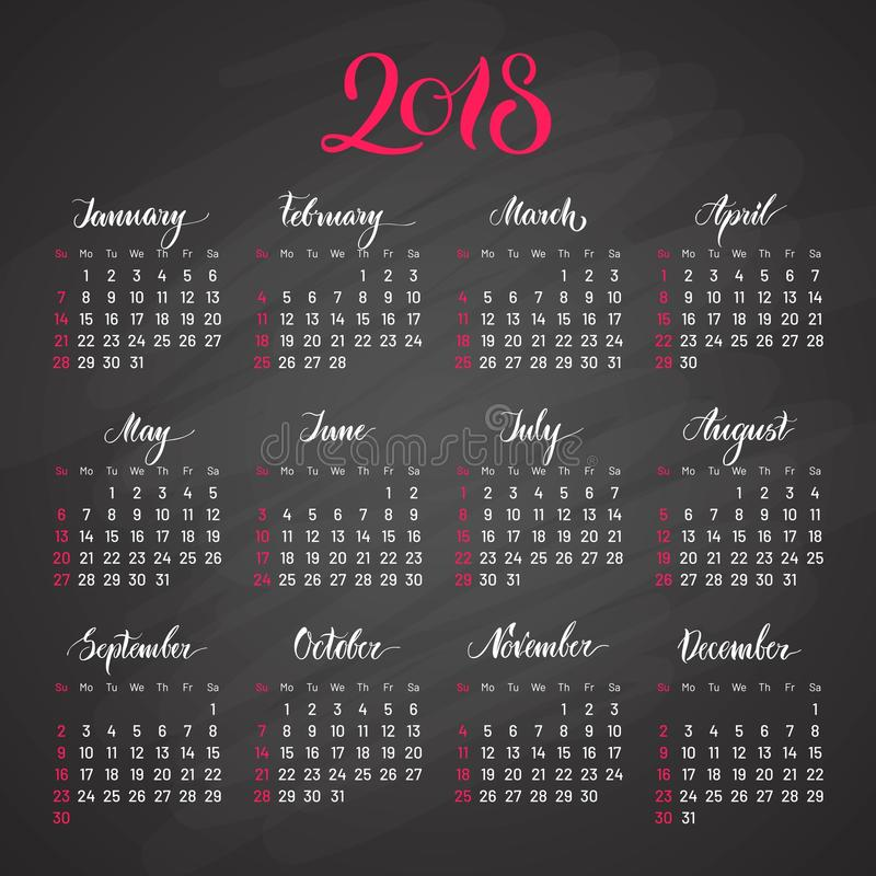 Scheduler, 2018, dark background, lettering, flat. Stylish annual calendar for modern people. Vector illustration of chart royalty free illustration