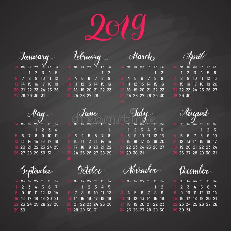 Scheduler, 2019, dark background, lettering, flat. Stylish annual calendar for modern people. Vector illustration of chart stock illustration