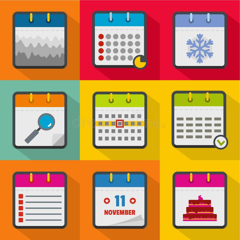 Scheduler icons set, flat style. Scheduler icons set. flat set of 9 scheduler icons for web isolated on white background royalty free illustration
