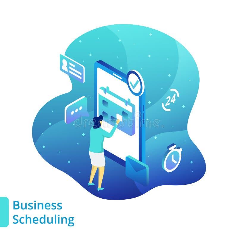 Scheduling del negocio del ejemplo ilustración del vector