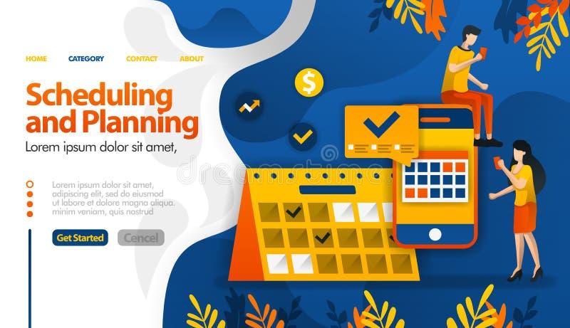Scheduling- och planeraapps och att planera turer och att bestämma möten och begrepp för aktivitetsvektorillustration kan vara br stock illustrationer