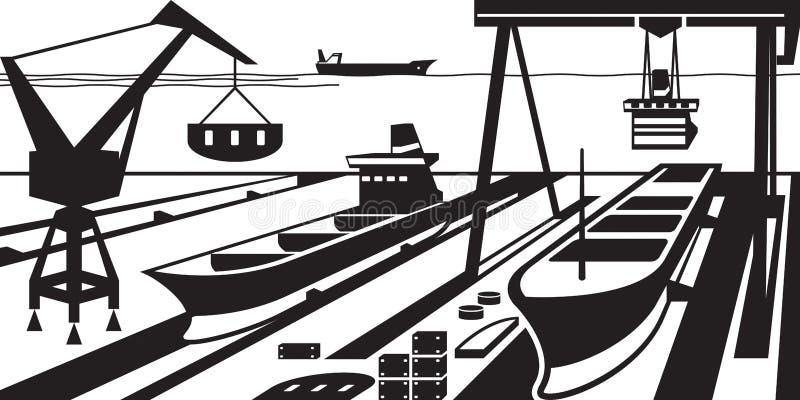 Scheepsbouw met dokken en kranen vector illustratie