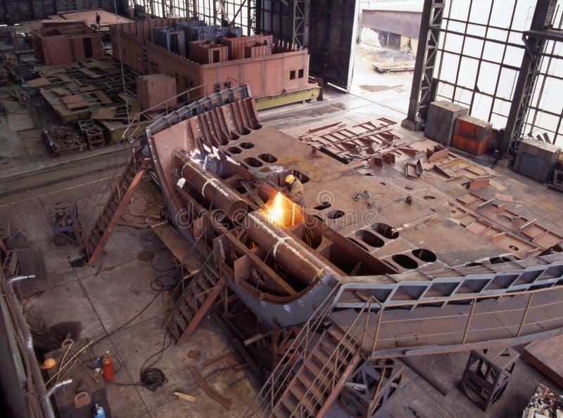 Scheepsbouw, schipreparatie stock foto
