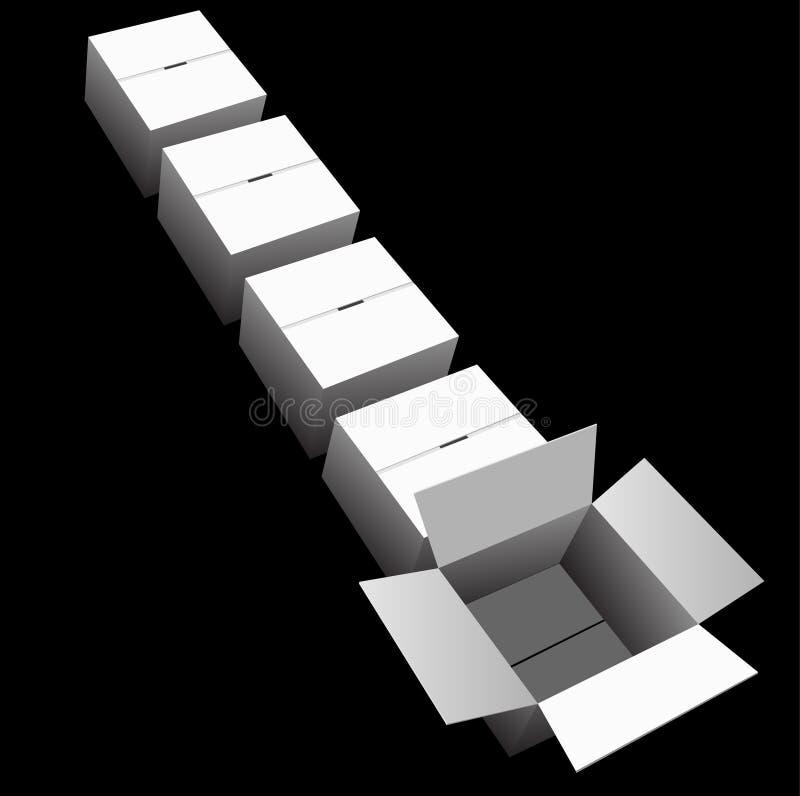 Scheepvaartlijn van doos-Kartons royalty-vrije illustratie