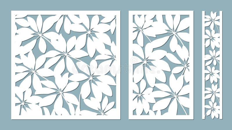 Schefler Vector illustratie Document bloem, stickers Laserbesnoeiing Malplaatje voor laserknipsel en Plotter Vector illustratie royalty-vrije illustratie