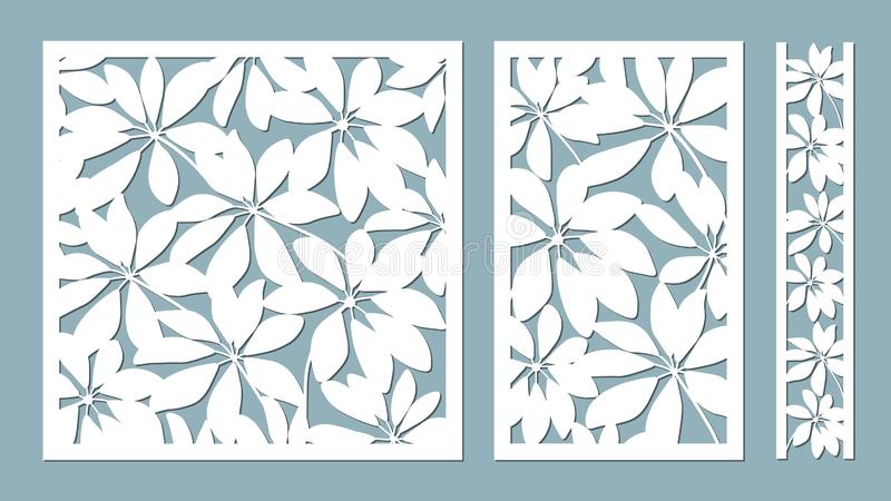 Schefler. Vector illustration. Paper flower, stickers. Laser cut. Template for laser cutting and Plotter. Vector illustration. Pattern for the laser cut royalty free illustration