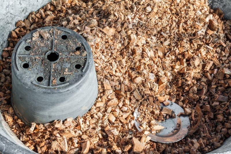 Scheggia e fibra di cocco in bacino fotografia stock libera da diritti