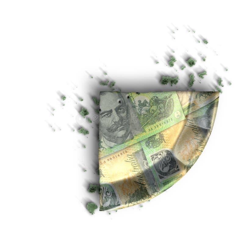 Scheibe der australischer Dollar-Geld-Torte lizenzfreies stockbild