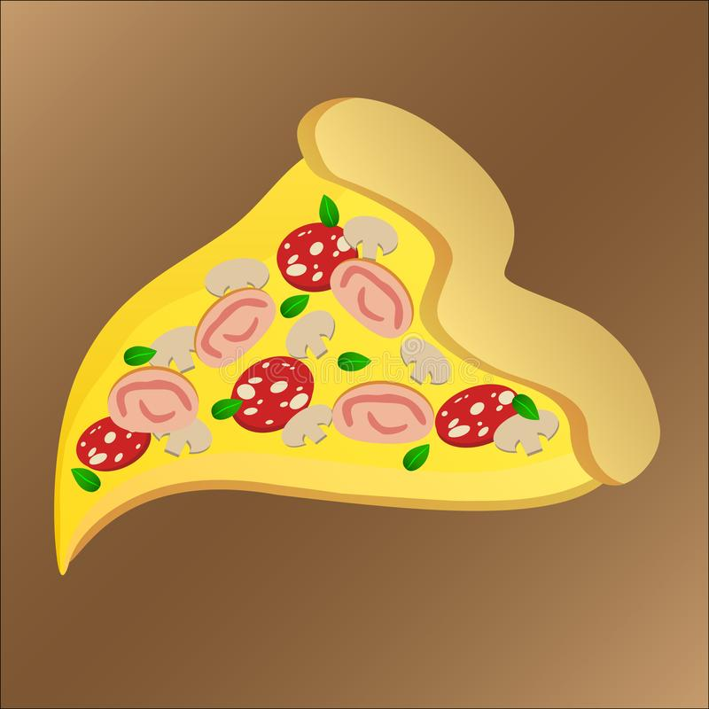 Scheibe der geschmackvollen Pizza mit Pepperonis und Käse vektor abbildung
