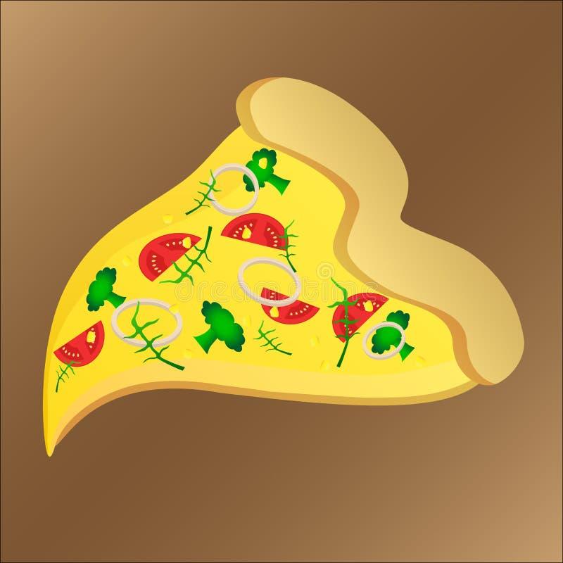 Scheibe der geschmackvollen Pizza mit rukola und Käse lizenzfreie abbildung