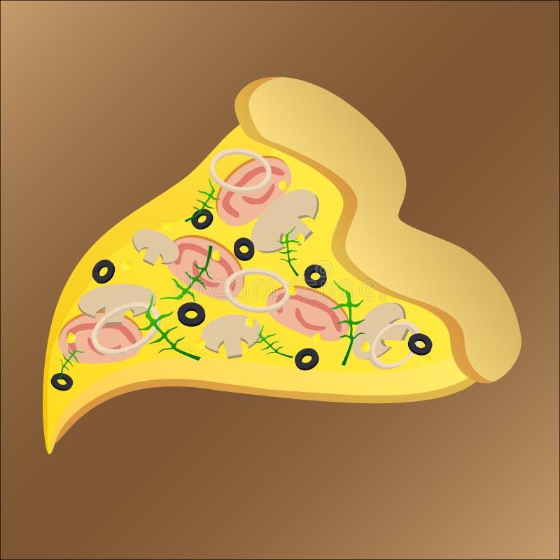 Scheibe der geschmackvollen Pizza mit Schinken und Käse stock abbildung