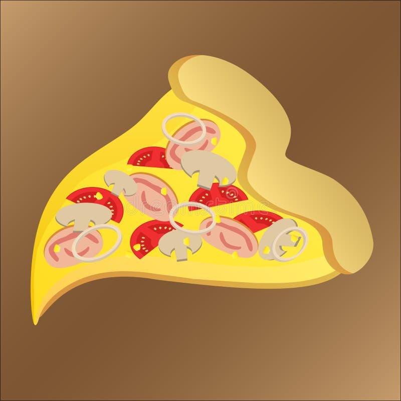 Scheibe der geschmackvollen Pizza mit Zwiebelschinken und -käse stock abbildung