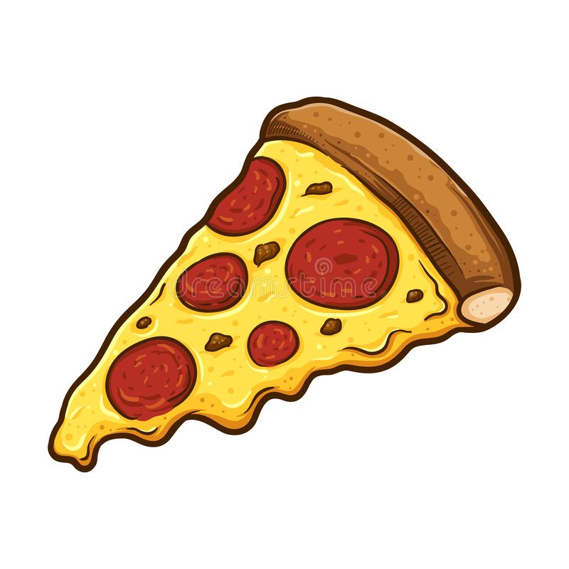 Scheibe der geschmolzenen Käse-Pepperoni-Pizza lizenzfreie abbildung